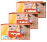 Huggies - Dry L (8 - 14 Kg) 30 Pieces (Combo Pack of 3)
