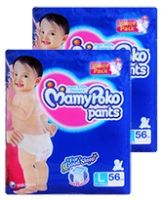 Mamy Poko Pants Pant Style Diapers Size L ( 9 - 14 kg), 56 pcs (Combo Pack of 2)