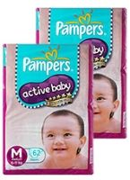 Pampers - Active Baby Diapers M (6 - 11 kg) , 62 Pieces (Combo Pack of 2)