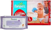 Pampers Active Baby Pants L (9 - 14 Kg), 36 Pieces with Himalaya Wipes Combo (Set of 2)