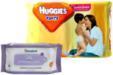 Huggies Pants M (5-11kg), 44 Pants with Himalaya Wipes Combo (Set of 2)