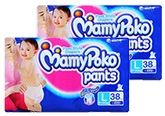 Mamy Poko Pants Pant Style Diapers L (9 -14 Kg), 38 Pieces (Combo Pack of 2)