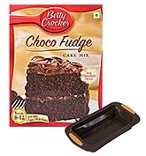 Wonderchef Flatty Plumcake Mould with Betty Crocker Choco Fudge - Cake Mix (Set of 2)