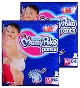 Mamy Poko Pants Pant Style Diapers M (7-12 Kg), 64 Pieces (Combo pack of 2)