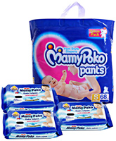 Mamy Poko Pants - Pant Style Diapers Size S(68), 4 - 8 kg with 3 Mamy Poko Wipes 20 pcs each combo (Set of 4)