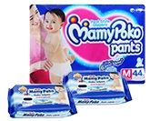 Mamy Poko Pants M (7-12 Kg)  44 Pieces 2 Mamy Poko Baby Wipes 20 Pieces each (Set of 3)