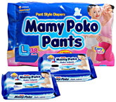 Mamy Poko Pants L (9 -14 Kg)  38 Pieces with 2 Mamy Poko Baby Wipes 20 Pieces each (Set of 3)
