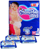 Mamy Poko Pants Pant Style Diapers Size M ( 7 - 12 Kg )  Pack of 64 Diapers with 3 Mamy Poko Baby Wipes 20 Pieces each (Set of 4)