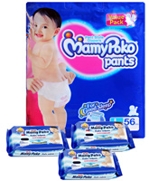 Mamy Poko Pant Style Diaper L-56 and with 3 Mamy Poko Wipes 20 pieces each (Set of 4)