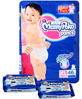 Mamy Poko Pants Pant Style Diapers Size XL (12 - 17 kg)  46 Diapers with 2 Mamy Poko Baby Wipes 20 Pieces each (Set of 3)
