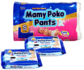 Mamy Poko Pants S (4 - 8 Kg)  48 Pieces with 2 Mamy Poko Baby Wipes 20 Pieces each (Set of 3)