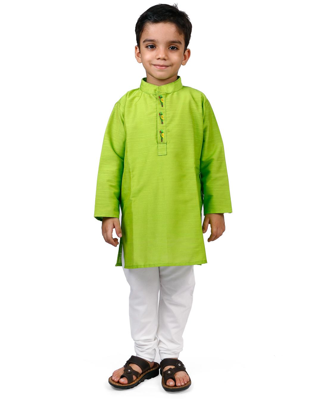 Raghav Kurta & Pyjama Set - Lime Green