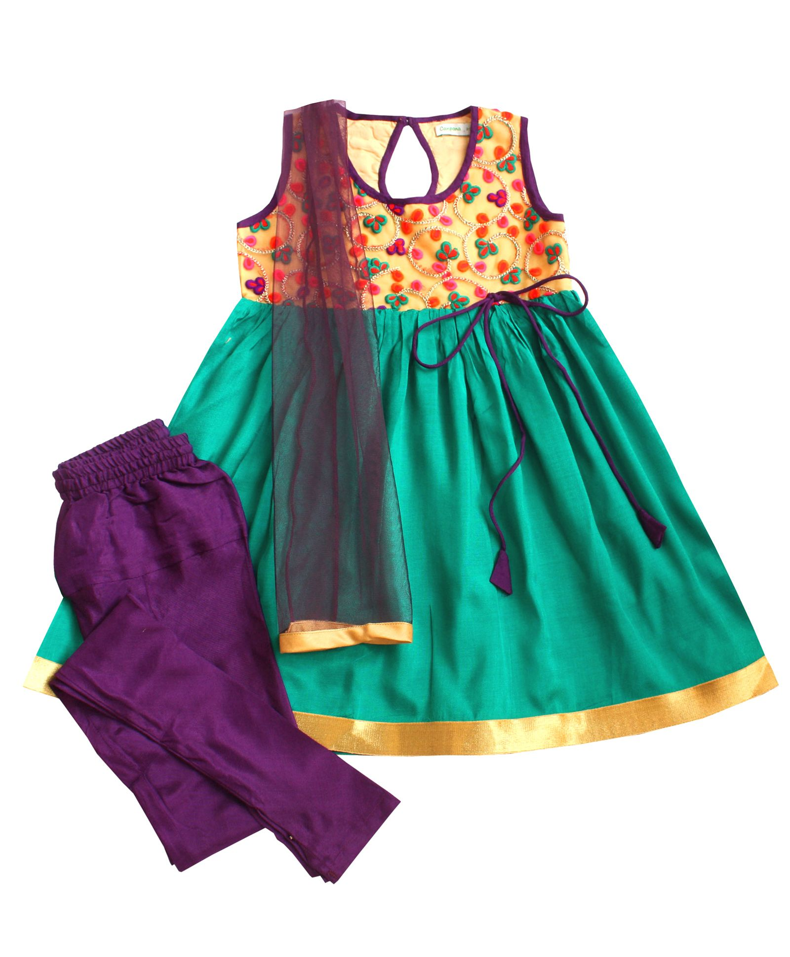 Bring Out Their Ethnic Wear By Firstcry | Campana Sleeveless Floral Embroidered Kurti Churidar & Dupatta Set - Green And Purple @ Rs.1,795.50