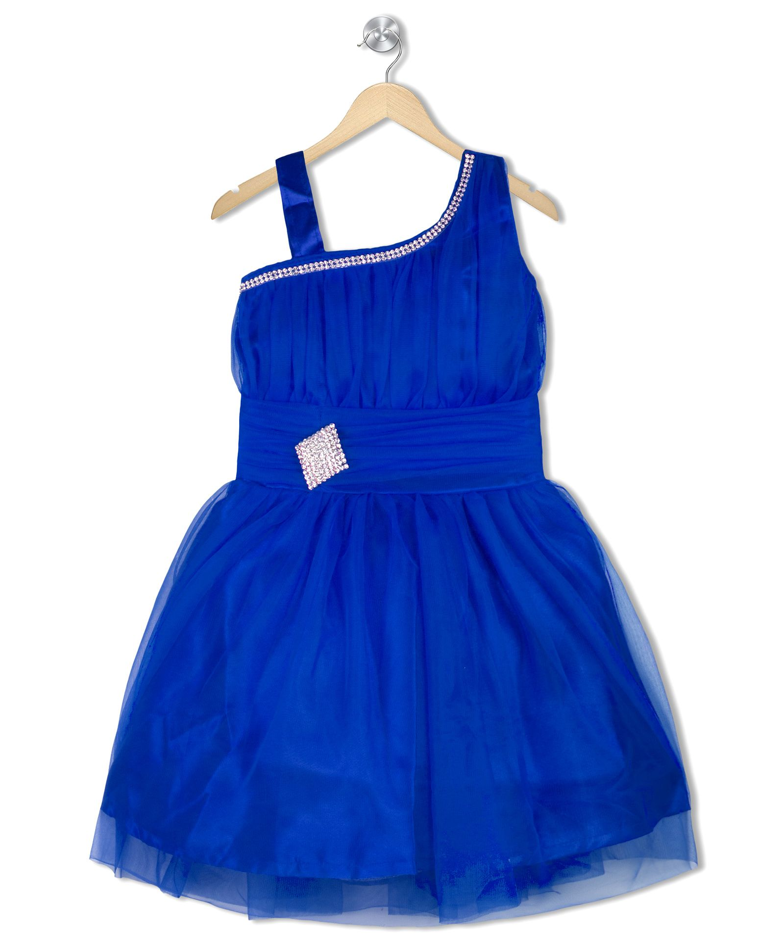 Upto 52% Off On Party Wear Dress By Firstcry | Aarika Diamond Studded Applique Empire Waist Dress - Blue @ Rs.287.52