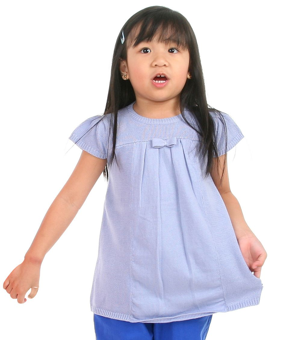 Flat 40% Off on Winter Wear By Firstcry | Cherry Crumble California Premium Tunic Bow Applique Sweater For Girls - Blue @ Rs.1,104.35