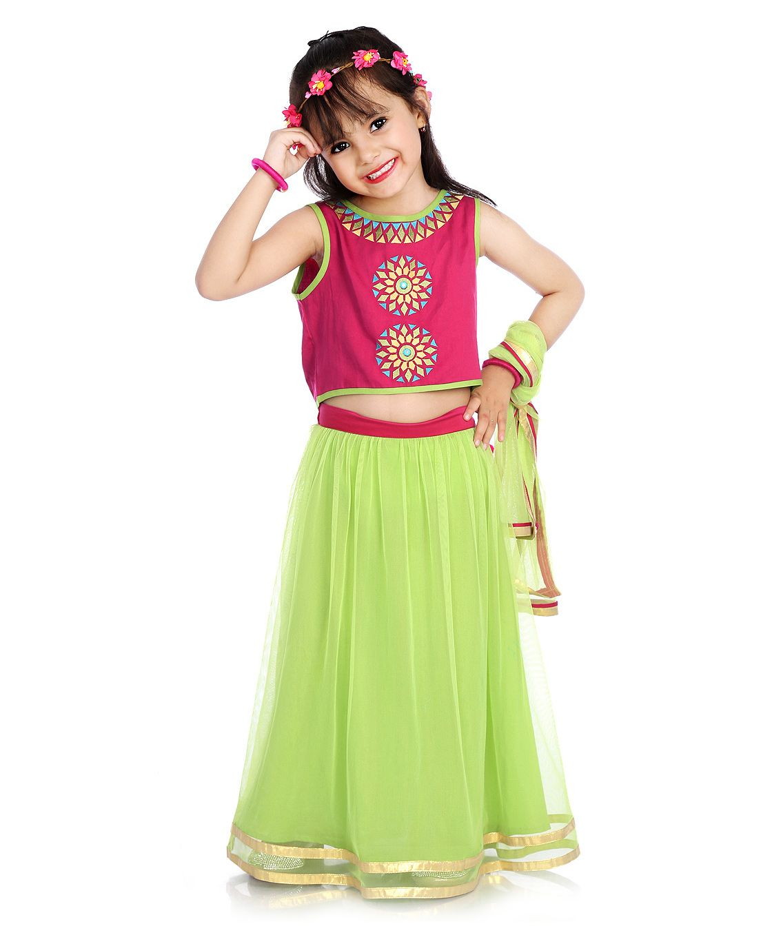 Little Pockets Store Lehenga Set - Green By Firstcry @ Rs.1699