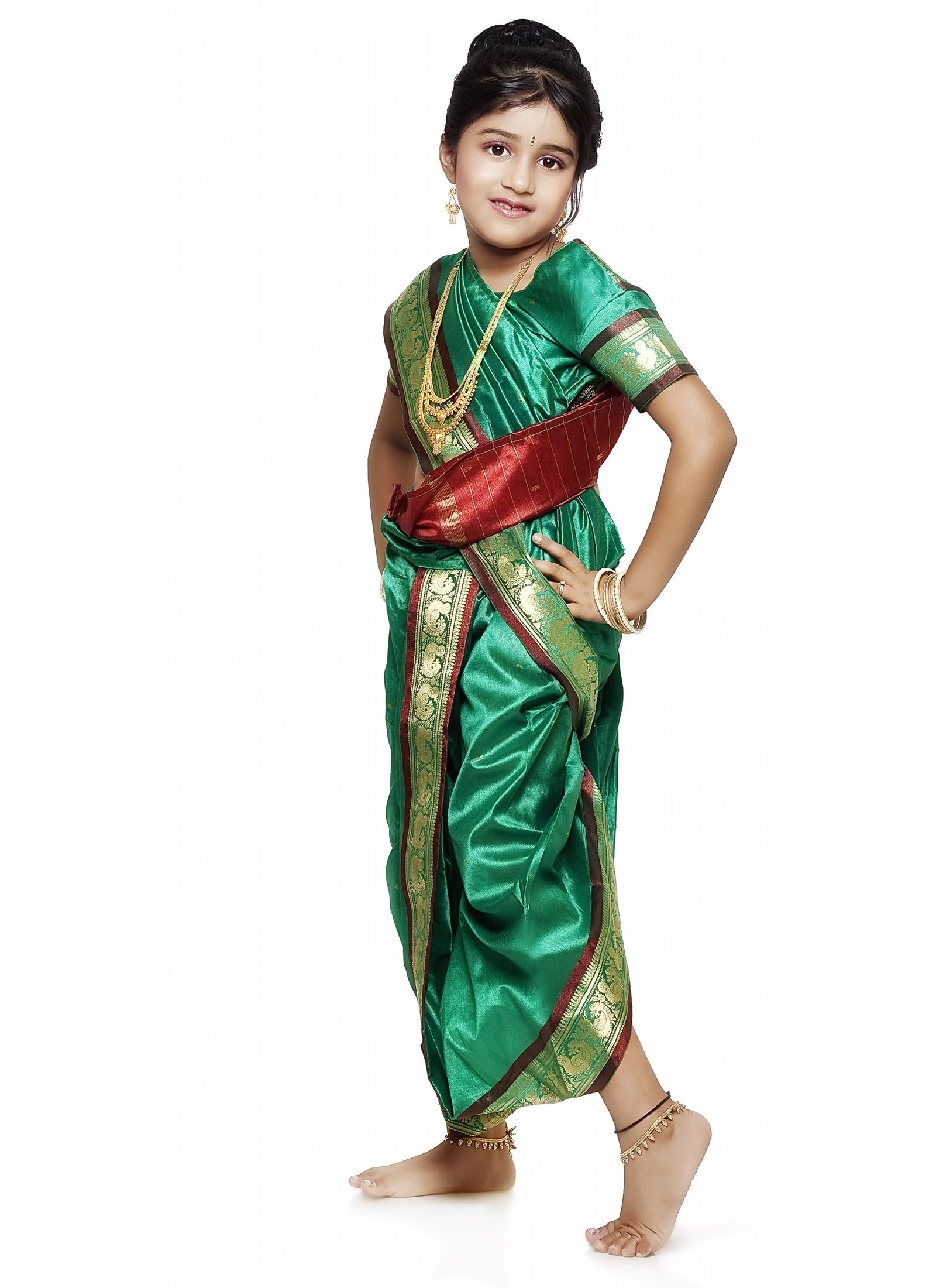 Buy Bhartiya Paridhan Nauvari Sari Set for Girls (3-4 Years ...