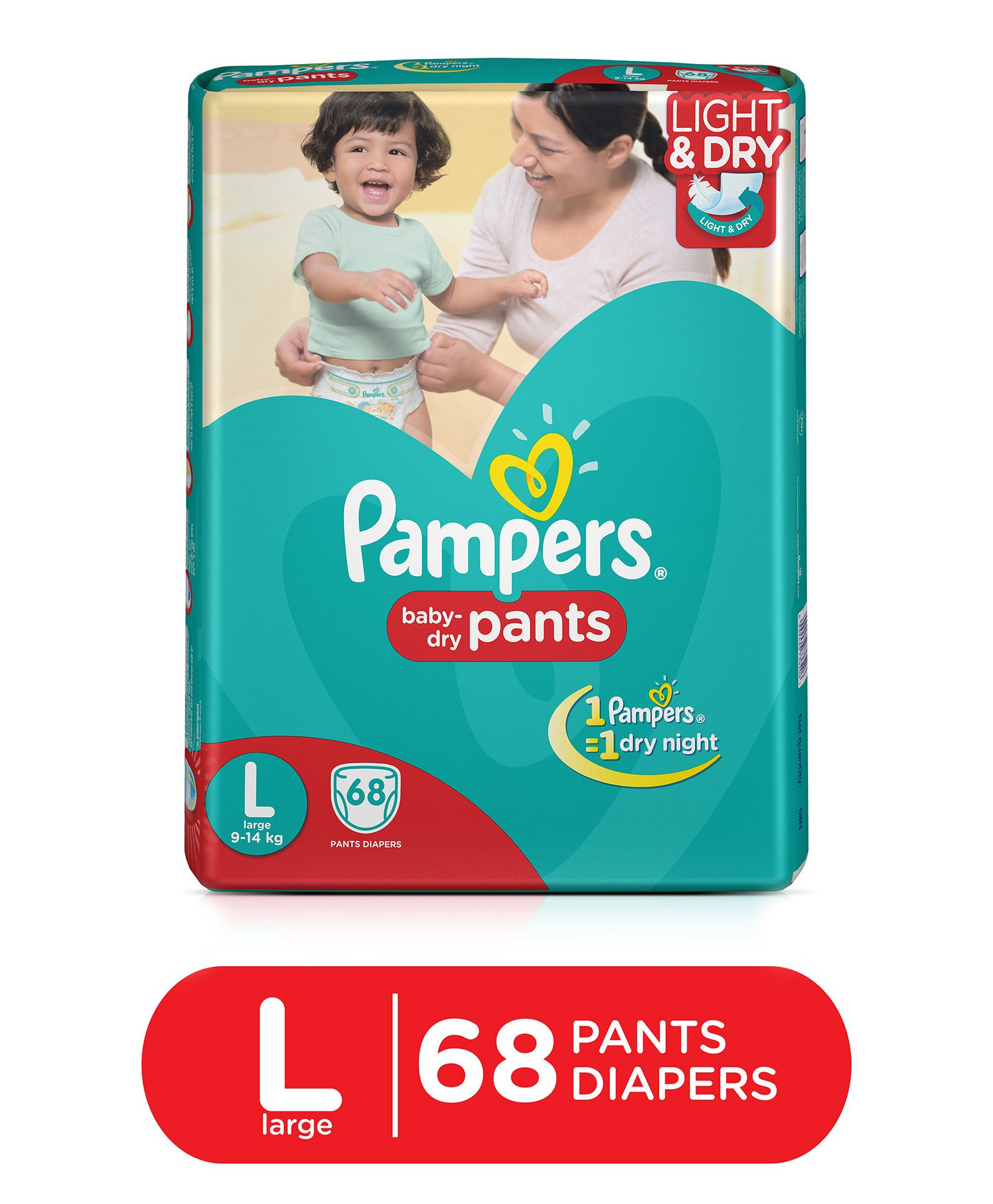 Upto 30% Off On Pampers By Firstcry | Pampers Pant Style Diapers Light And Dry Large - 68 Pieces @ Rs.709.29