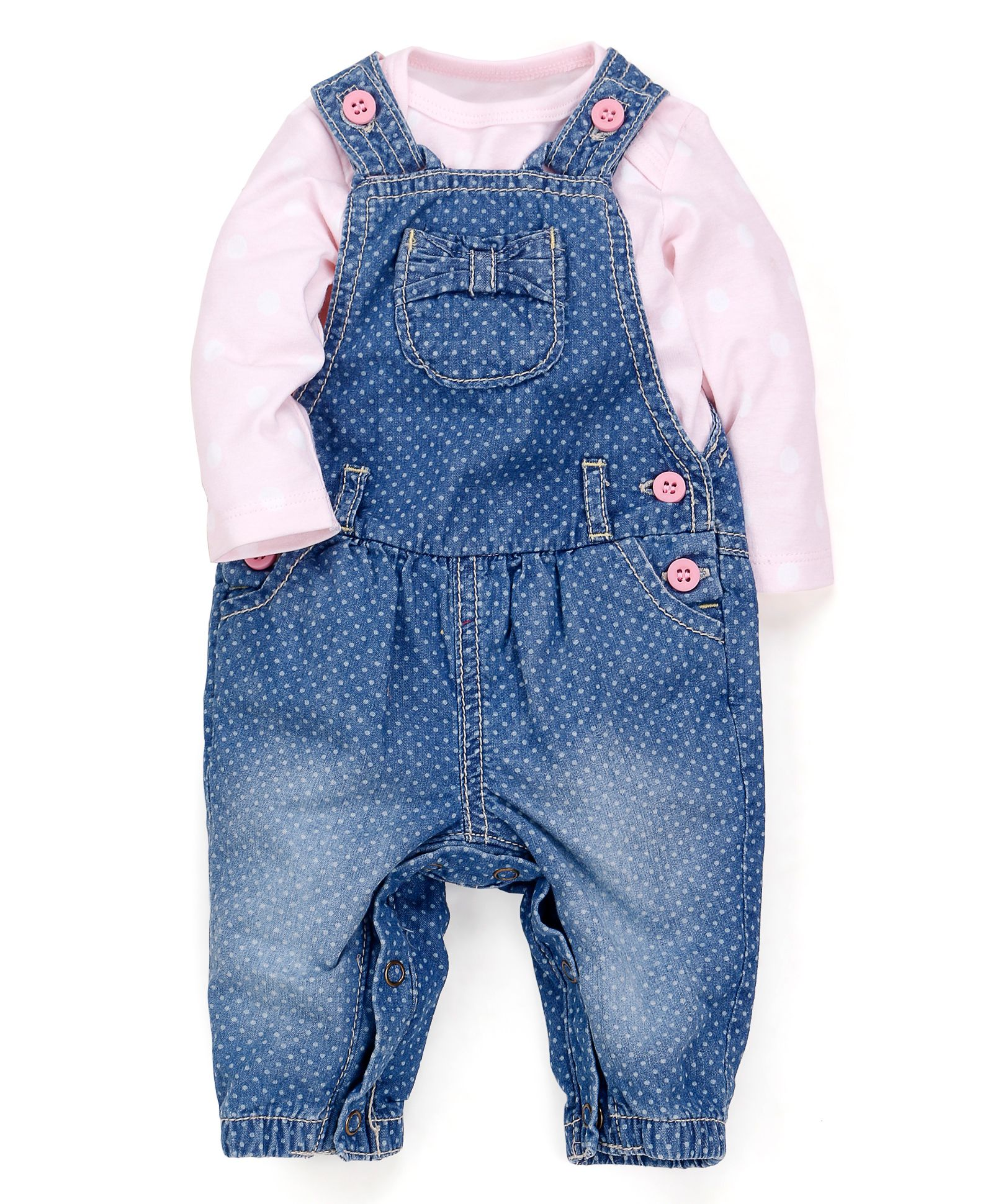 Upto 60% Off On Rompers, Dungarees, Onesies & More By Firstcry | Mothercare Dungaree With Onesie - Blue And Pink @ Rs.1,266.85