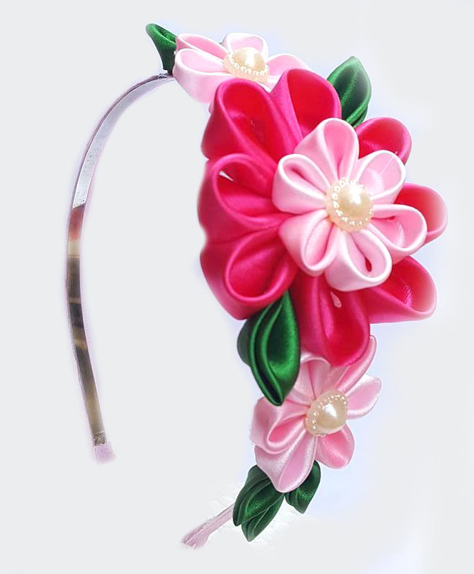 Upto 10% Off On Hairband By Firstcry   Reyas Accessories Kanzashi Floral Hairband - Pink @ Rs.302.40