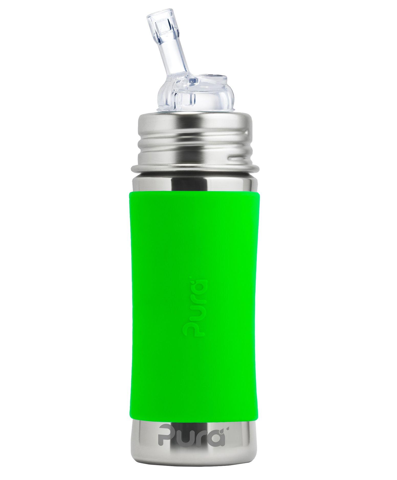 Pura Kiki Sleeve Straw Stainless Steel Bottle Green - 325 ml