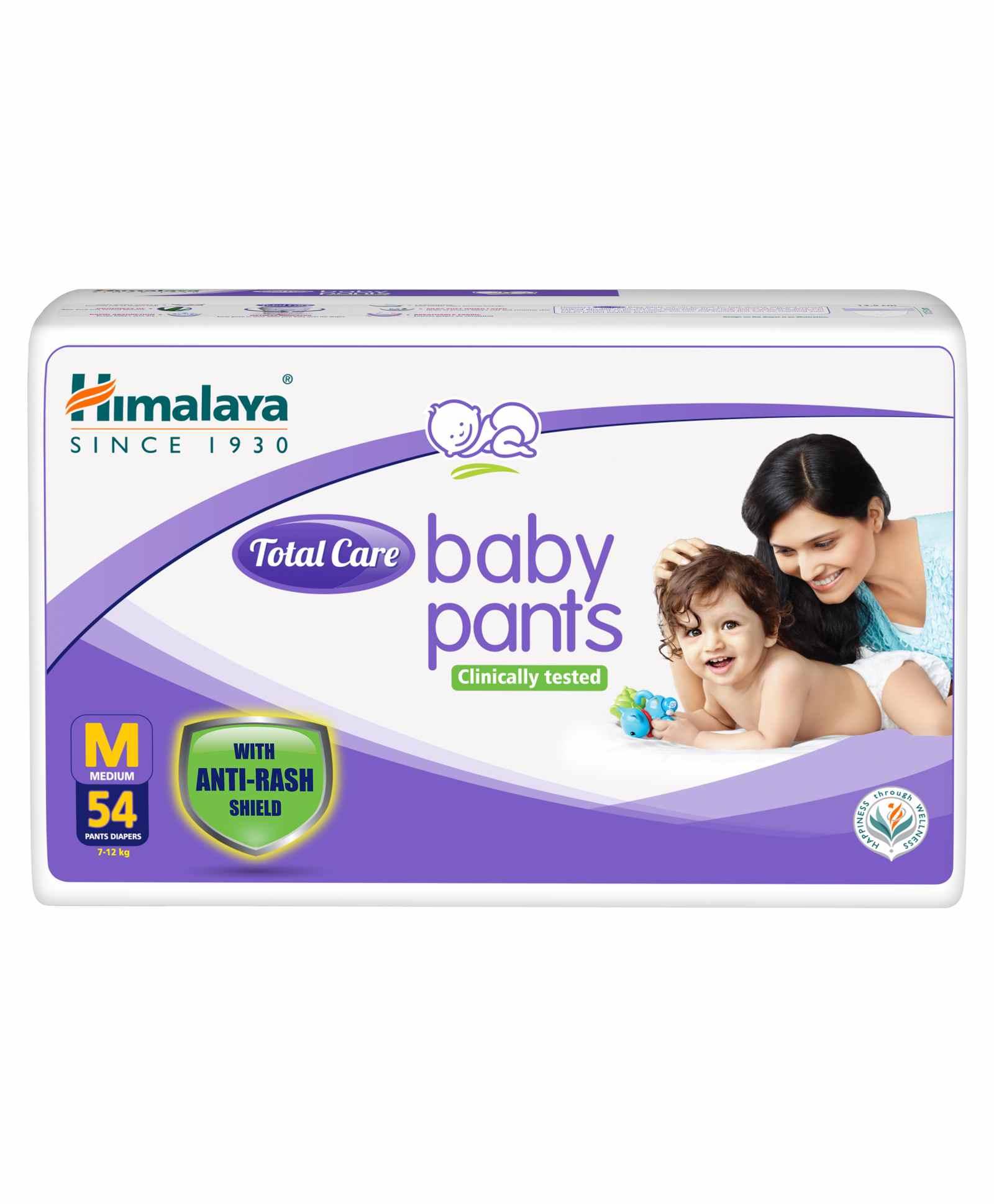 Himalaya Herbal Total Care Baby Pants Style Diapers Medium - 54 Pieces