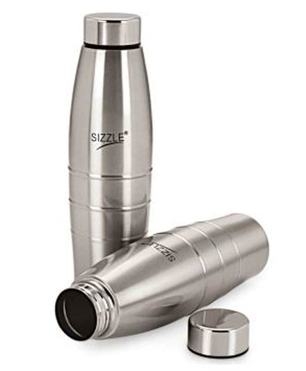 Sizzle Fridge Water Bottle Pack of 2 Silver - 600 ml