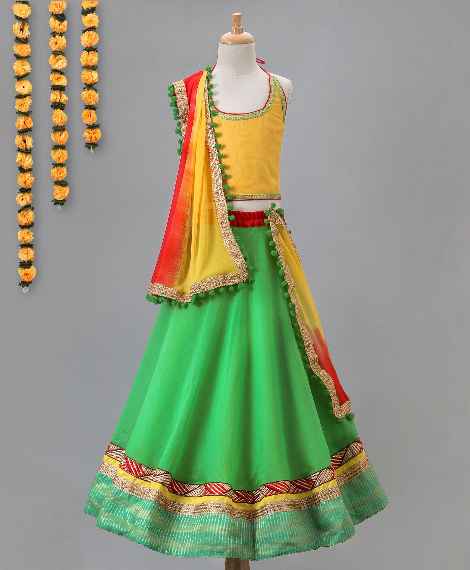 Kids Chakra Solid Ghagra Choli - Green