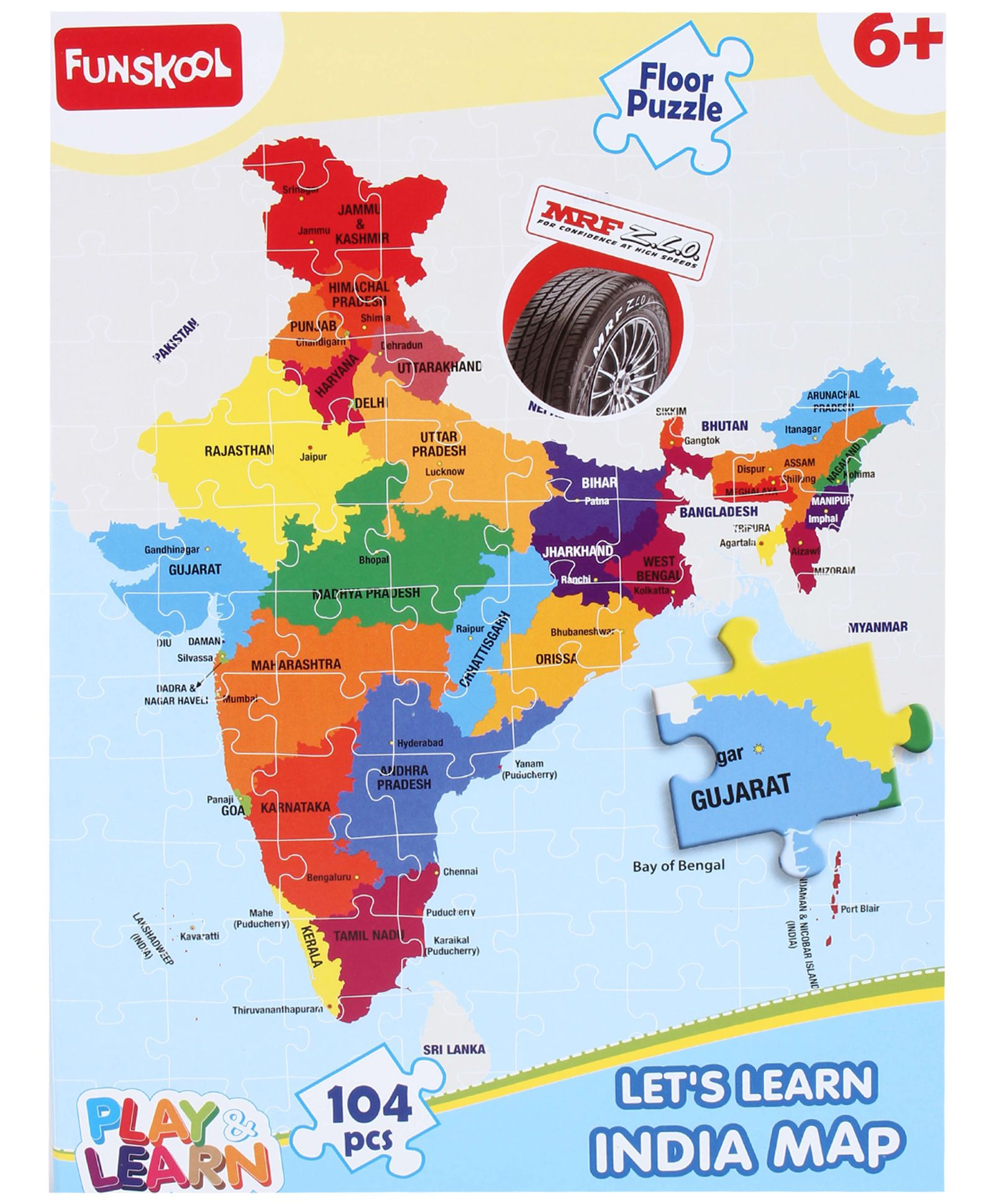 Funskool learn india map puzzle 104 pieces product image gumiabroncs Images