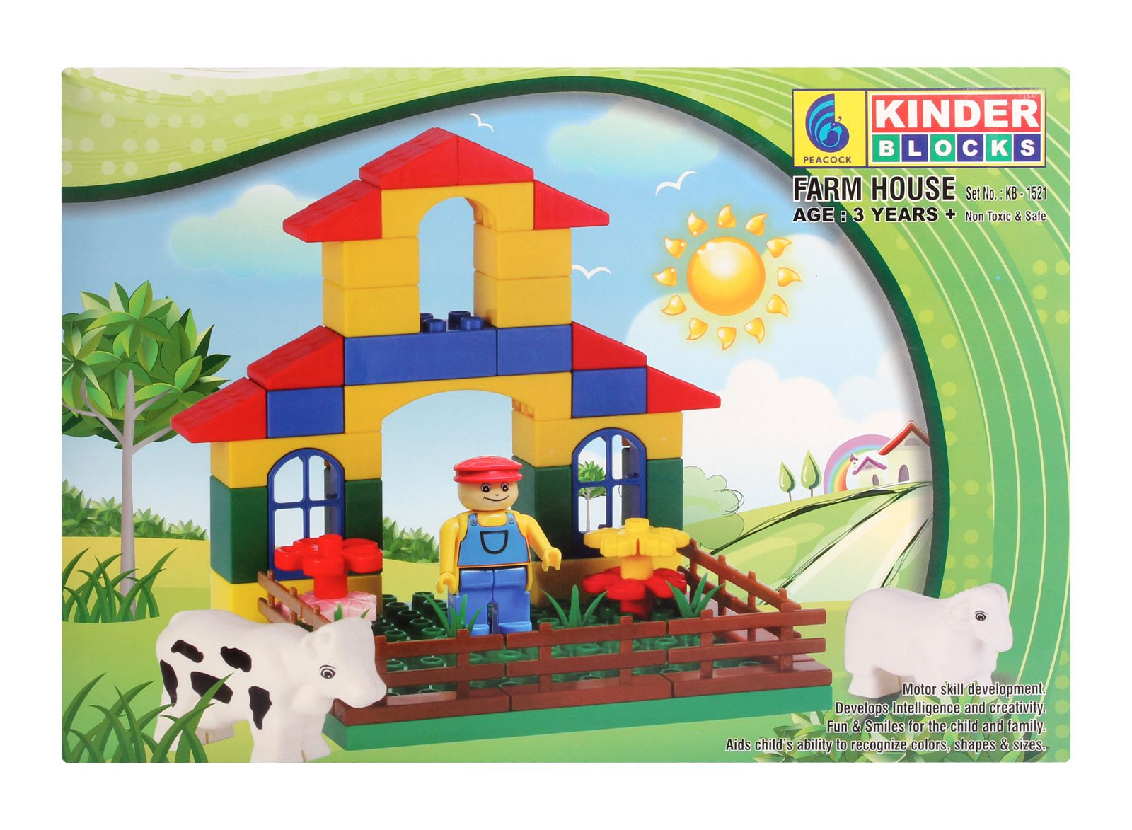Peacock Kinder Blocks - Farm House