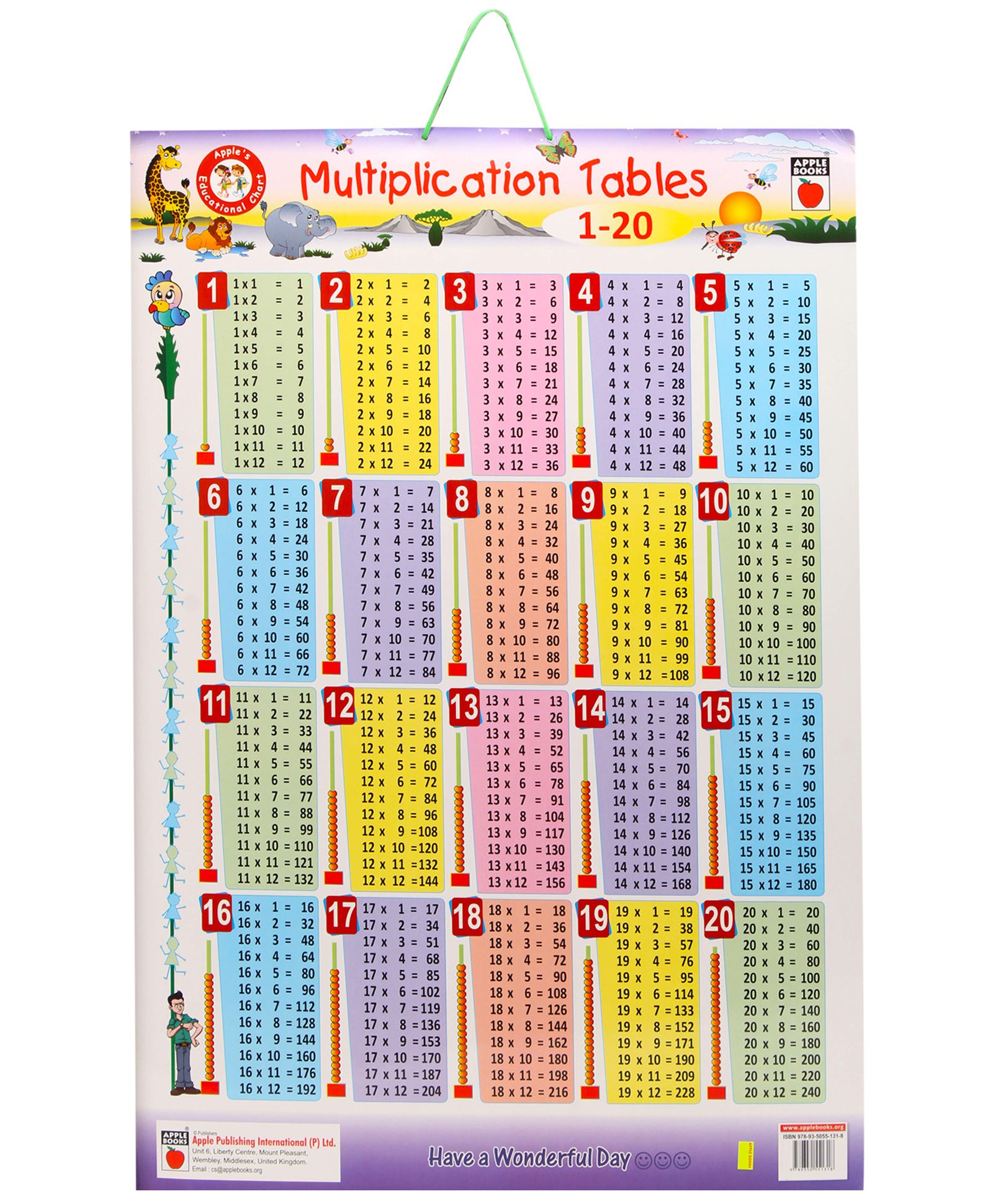 Multiplication table de multiplication 1 a 20 ateliers for Les table de multiplications