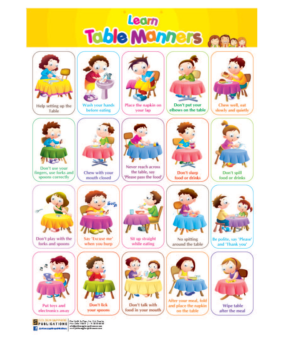Good Manners For Kids Chart Golden sapphire chart table manners ...