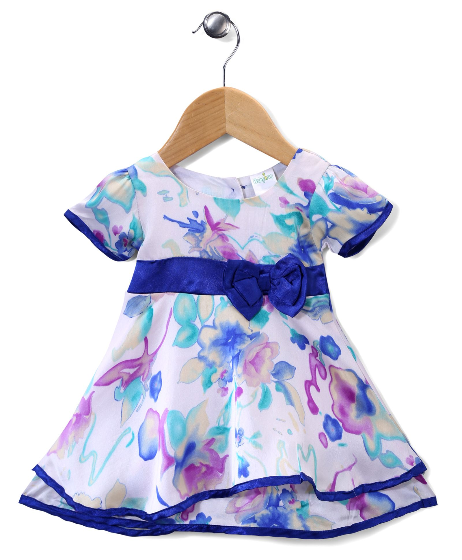 Flat 30% Off On Entire Babyhug Fashion Range By Firstcry | Babyhug Short Sleeves Party Frock Floral Design - White And Blue @ Rs.551