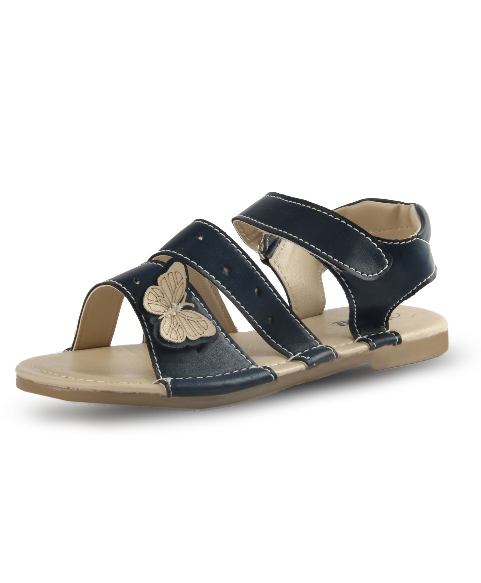 Big Fun For Little Footwear!! Min 40-70% Off On Kids Footwear By Firstcry | Beanz Sandals With Velcro Closure Butterfly Applique - Navy Blue @ Rs.519.60