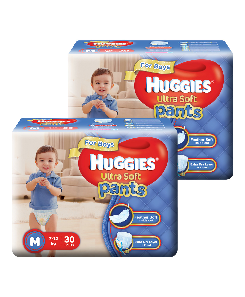 Extra 10% Off On Entire Huggie Range By Firstcry | Huggies Ultra Soft Pants Medium Size Premium Diapers For Boys 30 Pieces - Pack Of 2 @ Rs.778.70
