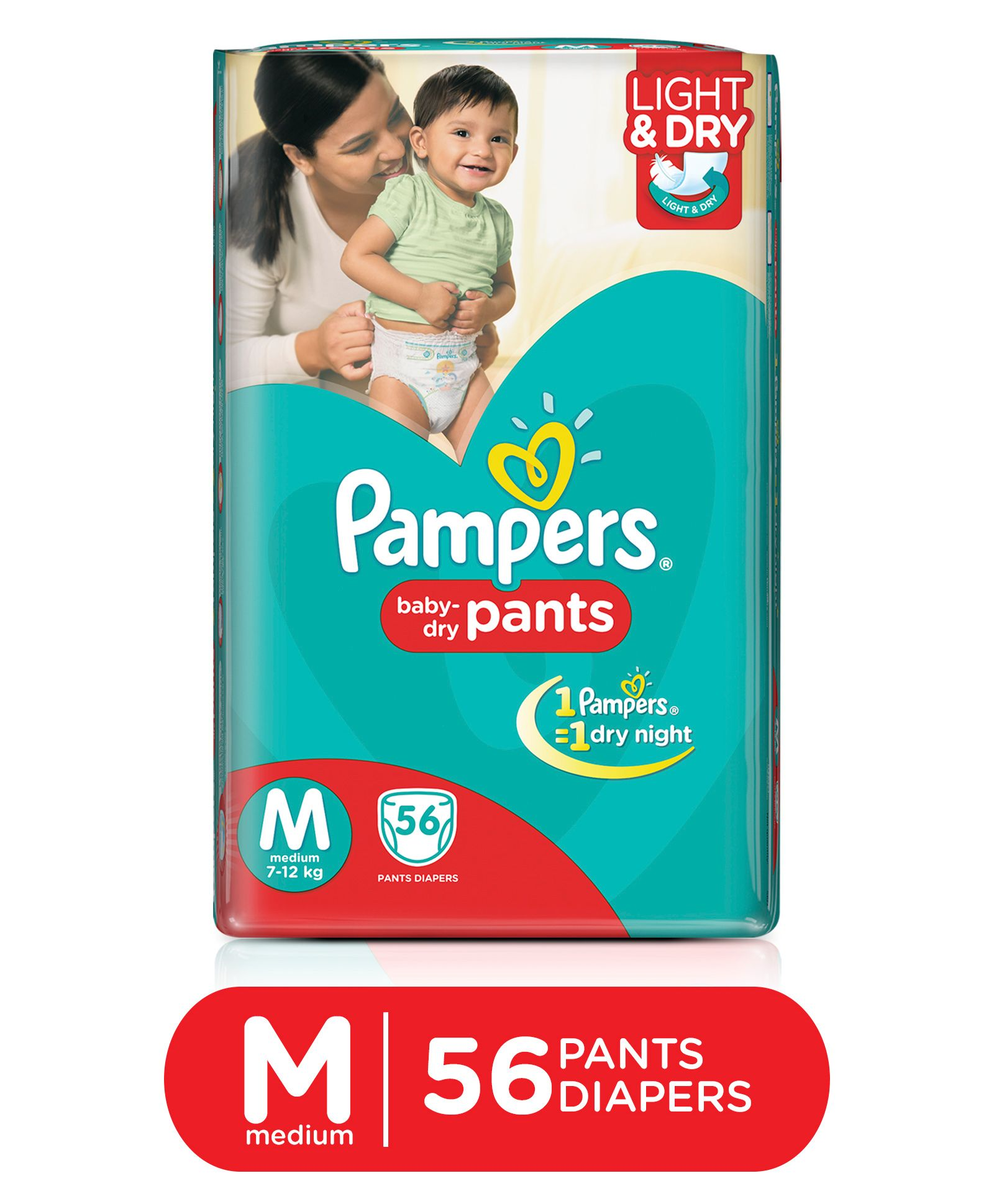 Flat 20% Off + 20% Cashback On Diapers By Firstcry | Pampers Pant Style Diapers Light And Dry Medium - 56 Pieces @ Rs.531.24