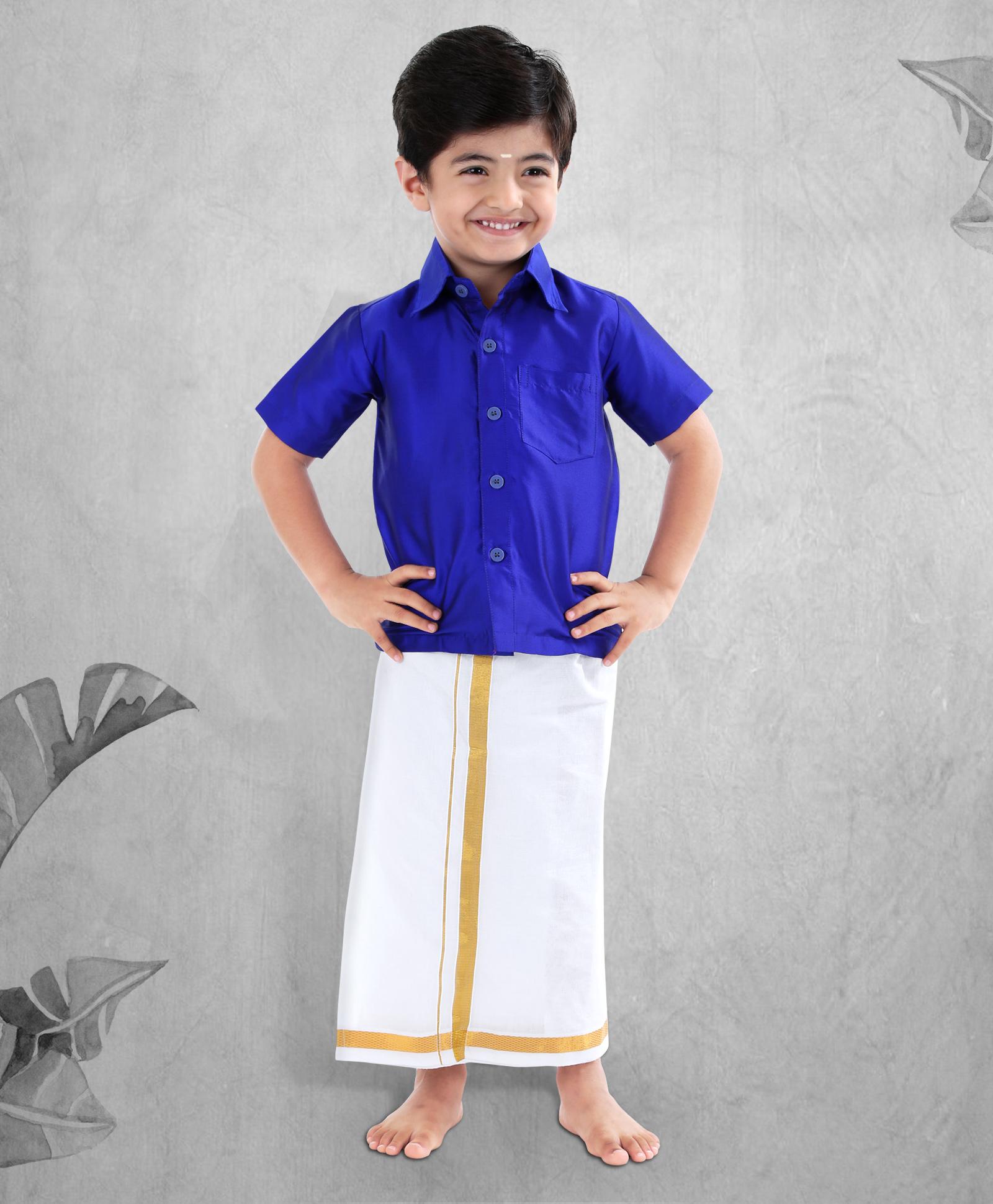 Flat 30% Off On  Janmashtami Special On Entire Fashion Range | Babyhug Half Sleeves Shirt And Lungi Set - Royal Blue White