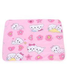 Baby Mat With Puppy  Print - Pink And White