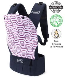 Babyhug On The Go 2 In 1 Baby Carrier With Removable Cotton Head Cover – Navy Blue Pink (Hood Print May Vary)