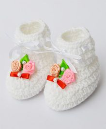 Love Crochet Art Crochet Baby Booties - White