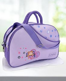 Babyhug Diaper Bag With Changing Mat Floral & Bear Print - Purple