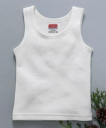 Babyhug Sleeveless Thermal Vest - White