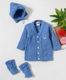 95e0a84f9 Babyhug Full Sleeves Sweater Set With Cap   Booties - Blue