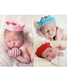 Babymoon Knited Designer Crown Head Wear Pack of 3 - Red Blue Pink