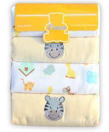 f212aaf108 Owen Receiving Cotton Blankets Animal Design Pack of 4 - Yellow