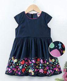 Babyhug Woven Cotton Short Sleeves Frock Floral Print - Navy Blue