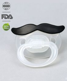 Babyhug Moustache Shaped Pacifier With Cover - Black