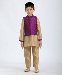 Babyhug Full Sleeves Solid Kurta Pyjama Set - Purple Off White