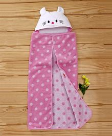 Babyhug Hooded Cotton Towel Kitty Design - Pink