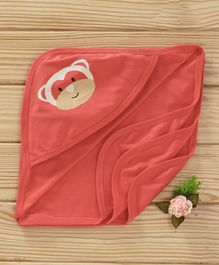 Simply Hooded Towel Monkey Print - Red